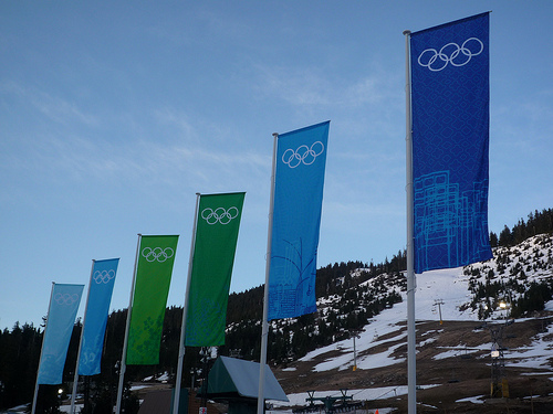 Olympic flags outside of Cypress Mountain